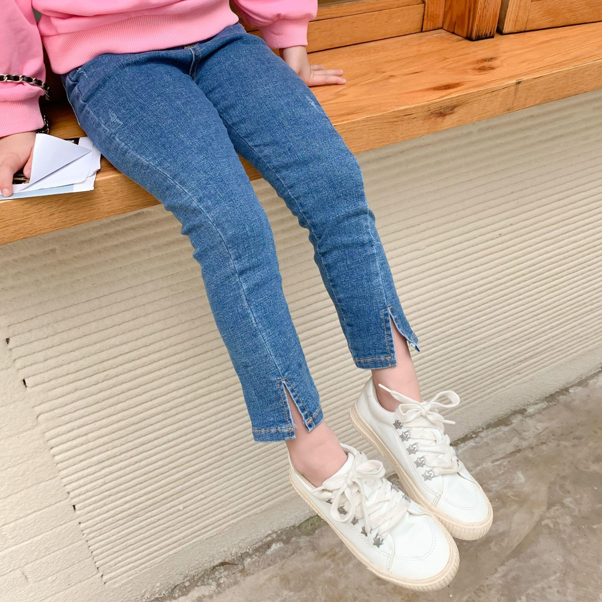 Autumn 2-7 years girls fashion Split skinny jeans kids all-match casual slim denim pants F1208