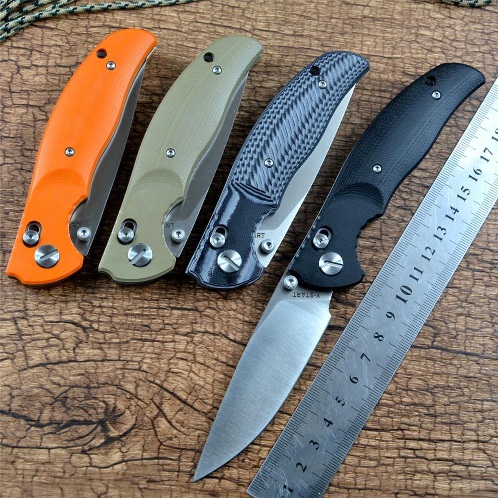 Y-Start Jin02 أضعاف السكاكين قفل المحوري d2 ساتان بليد الكرة تحمل غسالة g10 مقبض سكين التخييم الصيد جيب سكين edc