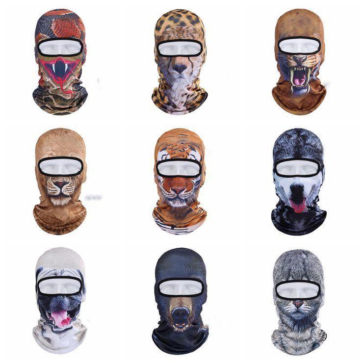 Winter full Face Mask Outdoor Animal Balaclava 3D Print dog cat tiger Cycling Ski Beanie Cap Cycling Hat Neck Cover cap headgear LXL619-1