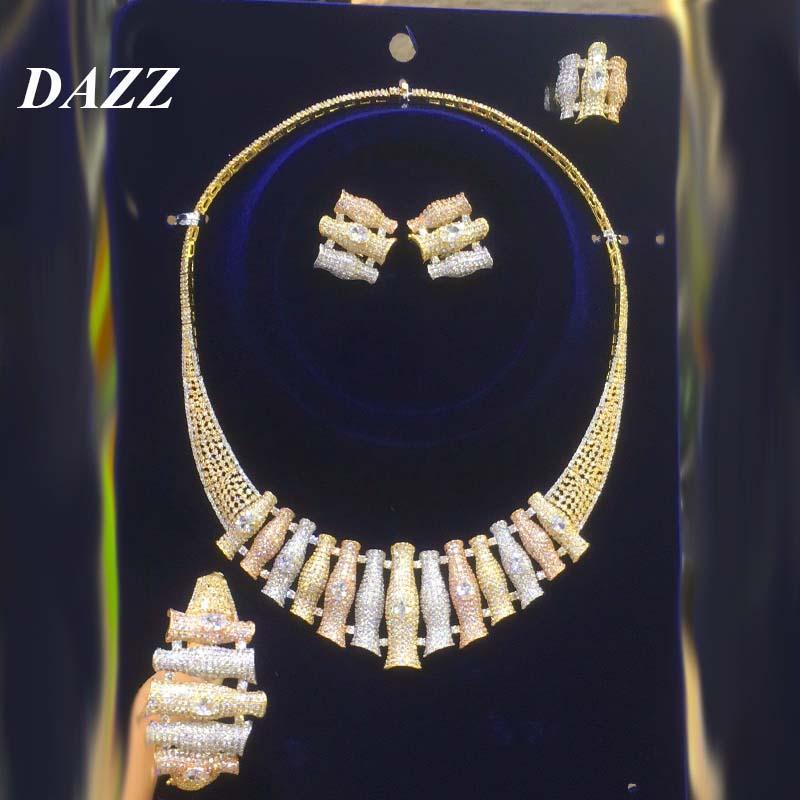 Dazz lujoso tricolor geométrico creativo joyería conjunto 5a circón fiesta boda dubai collar pendientes anillo bangle accesorios regalo
