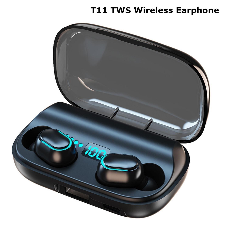T11 TWS Kablosuz Kulaklıklar Bluetooth 5.0 Kulak Kulaklık 3300 mAh Şarj Kutusu Stereo Kulakiçi IPX7 Spor Su Geçirmez Kulaklık