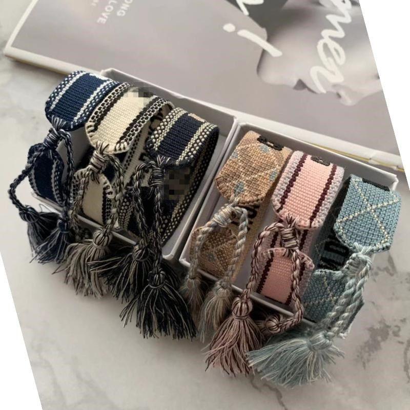 2021 Designer de luxo jóias mulheres homens pulseiras moda trançada borla pulseira de alta qualidade amantes bordados encantador bracelete designer
