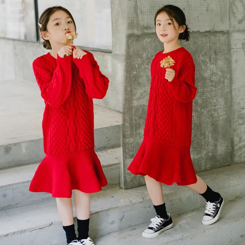 Neue 2020 Herbst Winter Teenager Mädchen Süßes Strickkleid Koreanische Mutter Und Tochter Kleider Elegante Kinder Mädchen Partykleid, # 1117 W1227