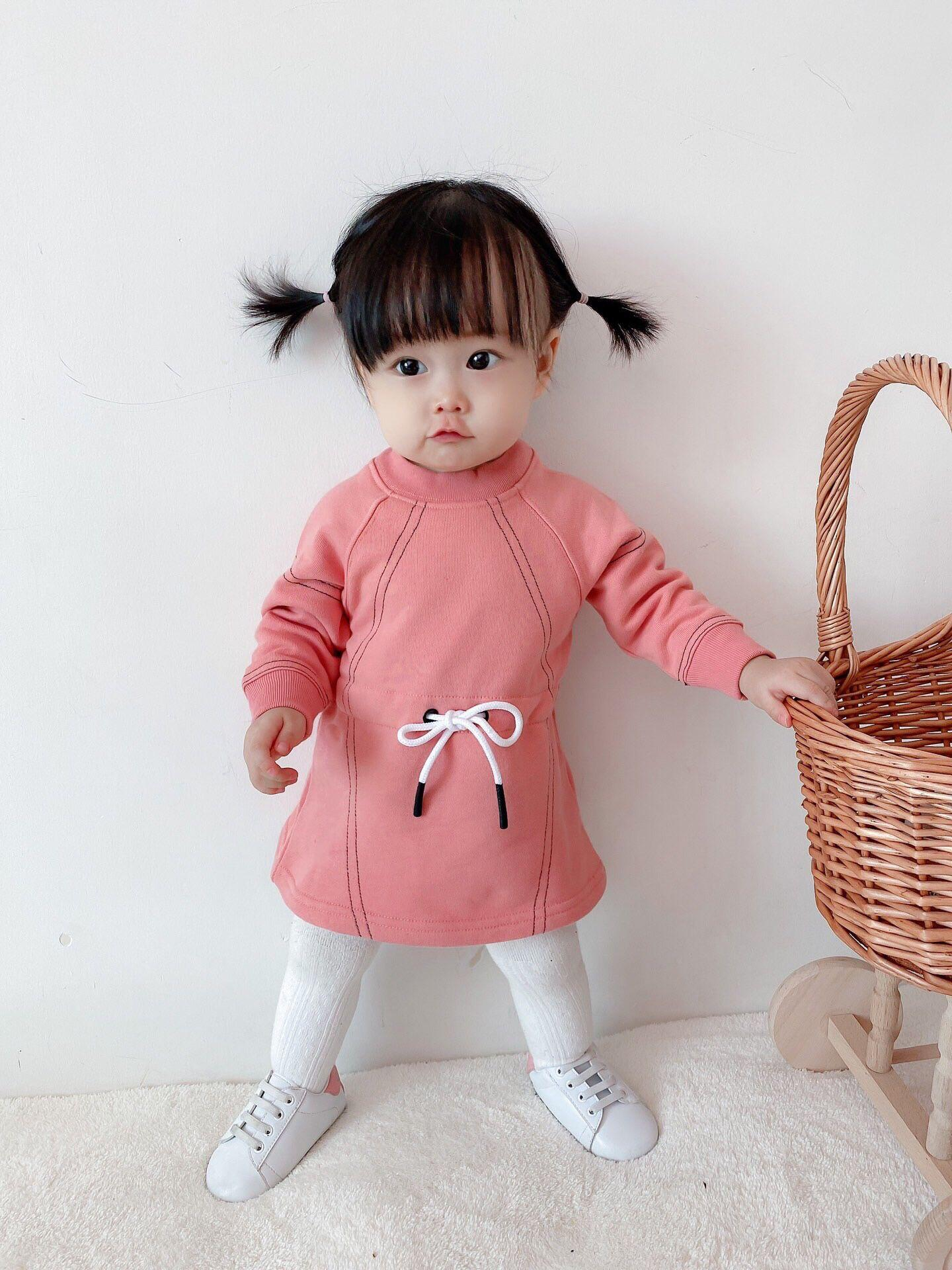 free shipping baby Girls Dress Long Sleeve Cotton Dresses for Baby Girls Floral Birds Kids Wear Baby Girls 6m-36month Spring Autumn Dress
