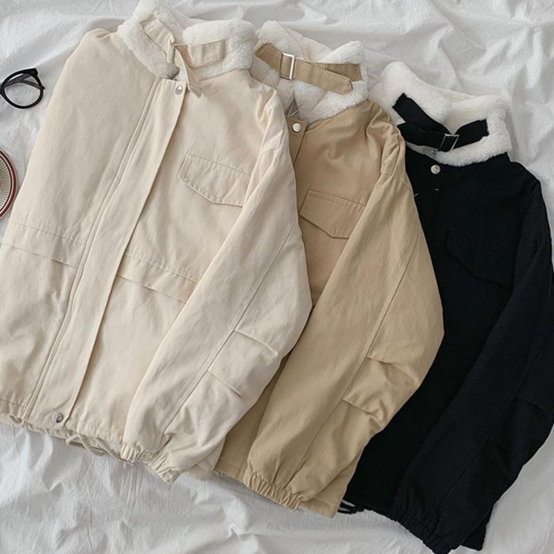 Autunno inverno inverno cappotto caldo femmina stand collare manica lunga kaki nero bianco oversize giacca calda femminile coreano safari in stile safari