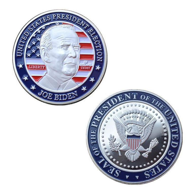 Biden President Commemorative Embossed Medallions Gift Silver Coin Metal Paint New President Of The America Joe Biden Badge PPD3014