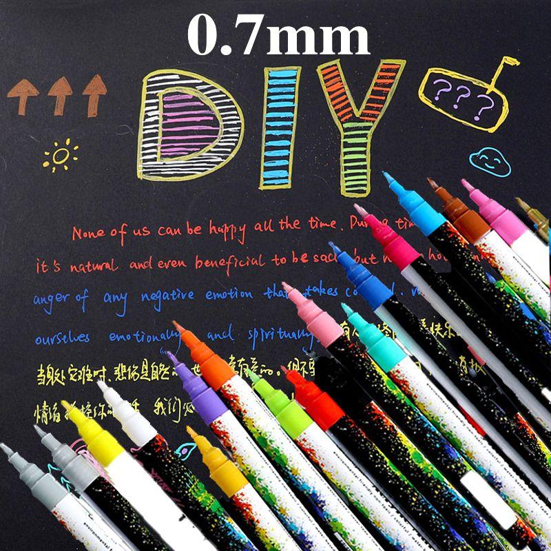 18 cores / set 0.7mm caneta de marcador de tinta acrílica para caneca de porcelana de vidro de rocha cerâmica pintura de lona de tela de madeira pintura detalhada 201203
