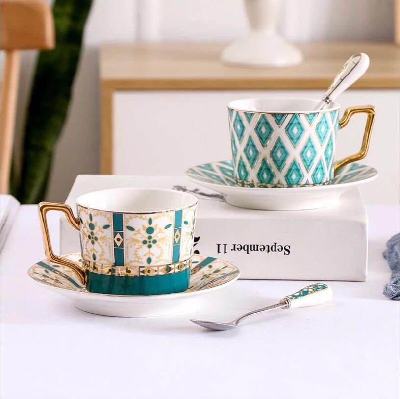 High Quality Ceramic Coffee Mug Afternoon Tea Cup Milk Water Cups with Dish and Spoon T200506