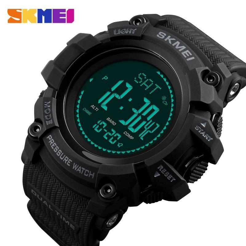 Skmei Outdoor Montres Mens Hommes Pressure Compas Sport Montre-Bracelet Digital Sport Altimeter Temps Weather Waterproof Reloj Hombre 1358 201125