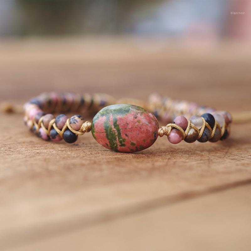 Cuentas de 4 mm Rhodonite Pintura de piedra natural Pulsera Mujeres Hombres String Braided Bracelets Yoga Amistad amante Pulsera 1