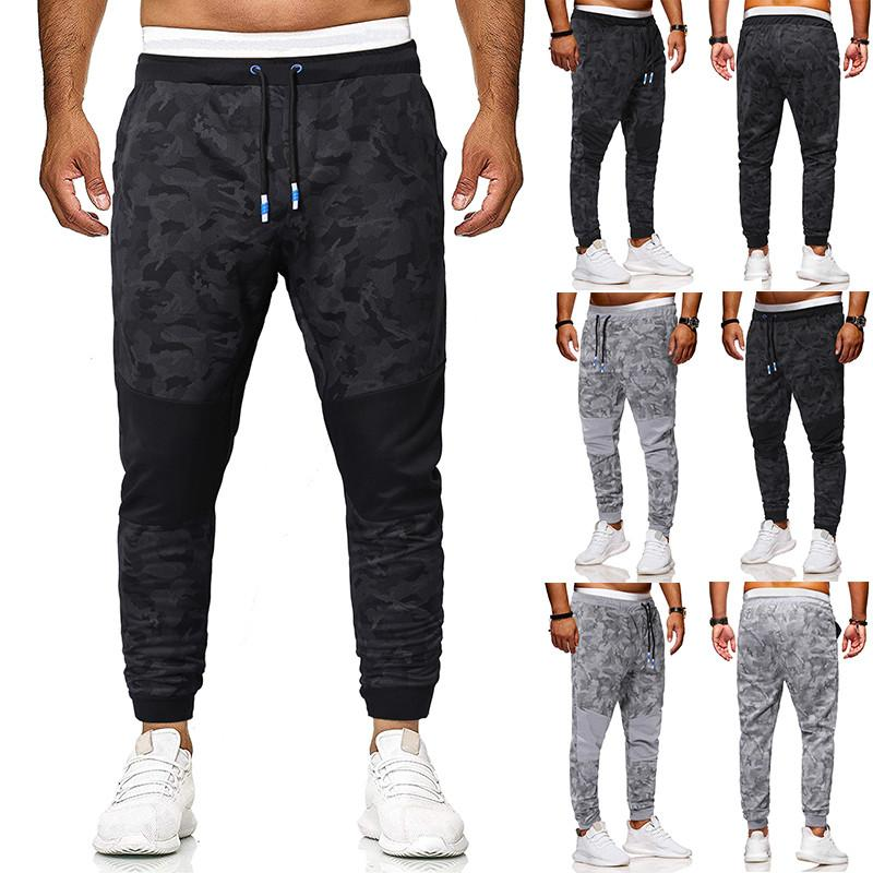 2021 New Arrivals Drawstring Slim Mens Pants Fashion Camouflage Panelled Loose Casual Long Trousers Male Clothing