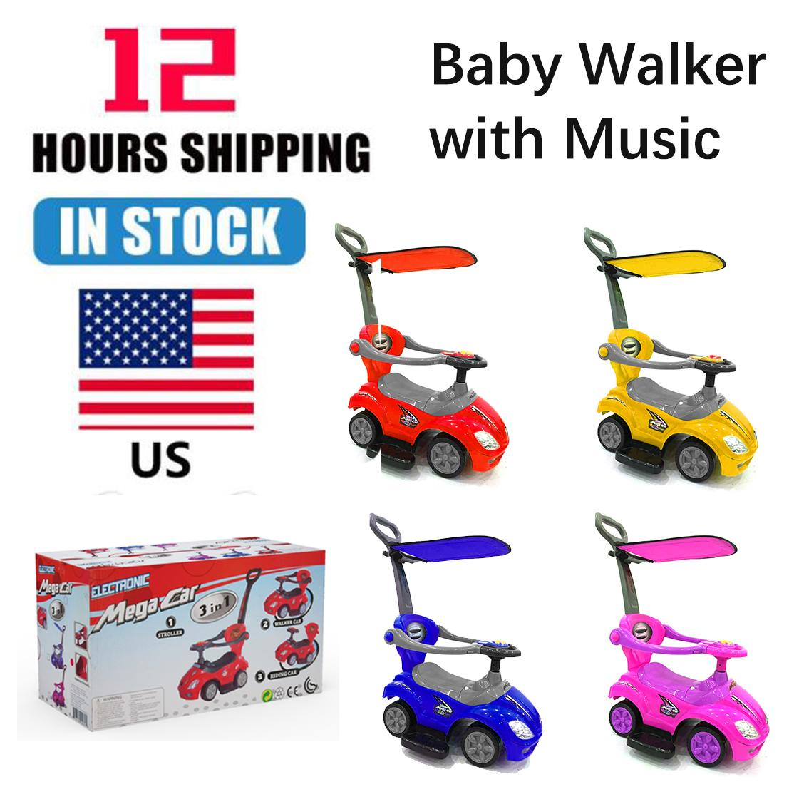 TCA0578 Interesting simple unique Baby Walker with Music RED/YELLOW/BLUE/PINK