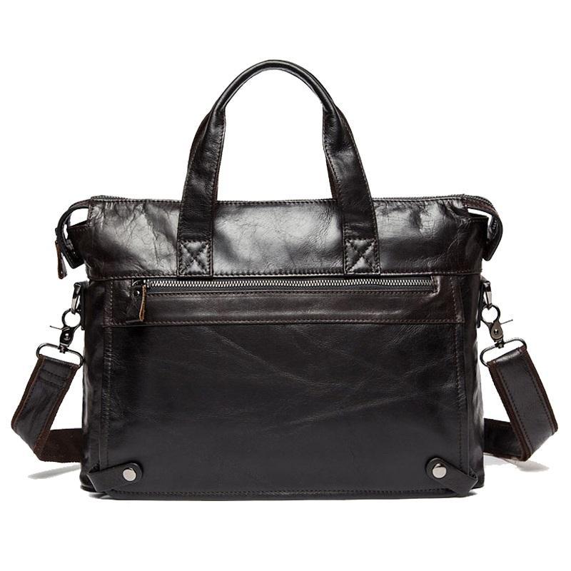 Messenger Bag genuine leather men's shoulder bags made of natural Male briefcases laptop Crossbody for men Q0112