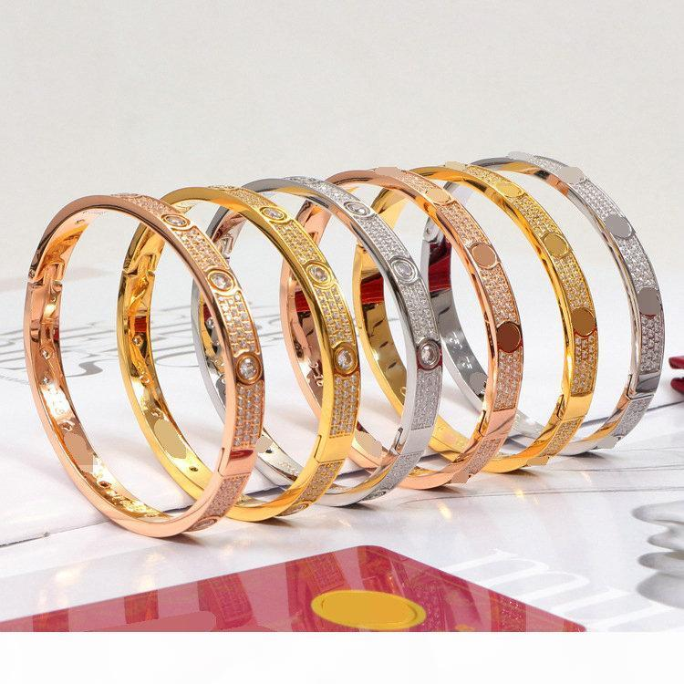 Titan Stahl Volldiamant Armband 3 Reihen Frauen Männer Paar Armbänder Manschette Armreifen Mode Liebe Schmuck mit Samttasche