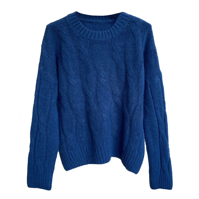 2021 Neue Herbst Oansatz Langarm Frauen Warme Pullover Reine Farbe Winter Dicke Pullover Pull Femme JF04