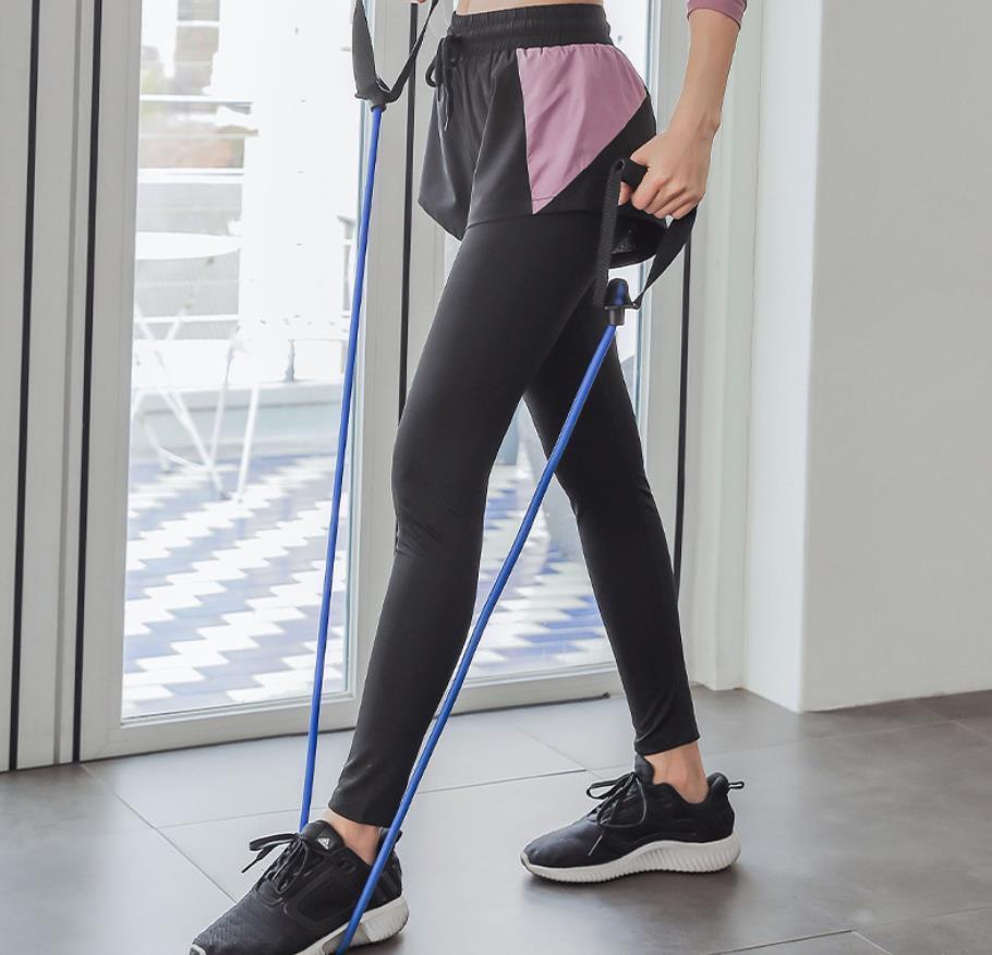 Кривая упругие сухие быстрые брюки йоги марафон с высокой талией фитнес леггинсы спортивные фальшивые две части карманные брюки
