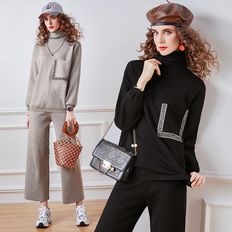 Женские трексуиты осень осень зима спортивная спортивная мода повседневная водолазка свитер и эластичные брюки вязаные вязаные две части набор широких брюк