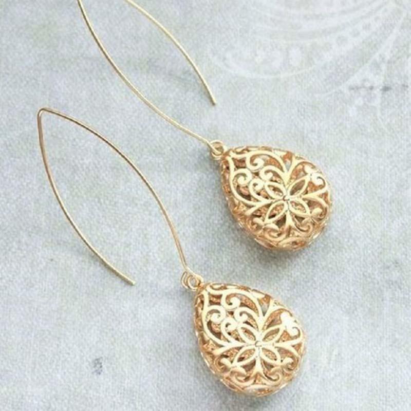 Böhmische Goldfarbe Baumeln Ohrringe für Frauen Vintage Schmuck aushöhlen Tropfen Ohrringe Geburtstagsgeschenk Drop S5M0261