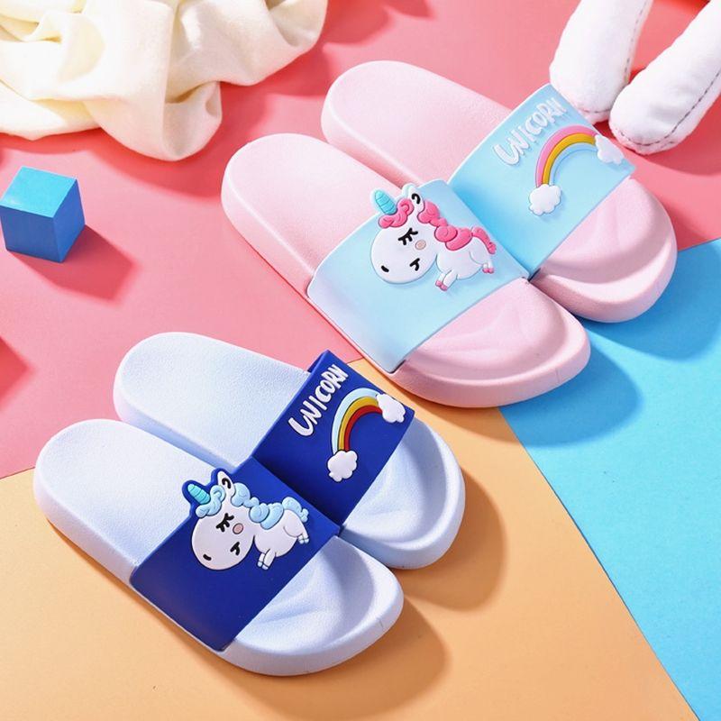 House Cartoon Kids Slippers Boys Girls Summer Indoor Baby Slippers Non-slip PVC Home Children Slippers