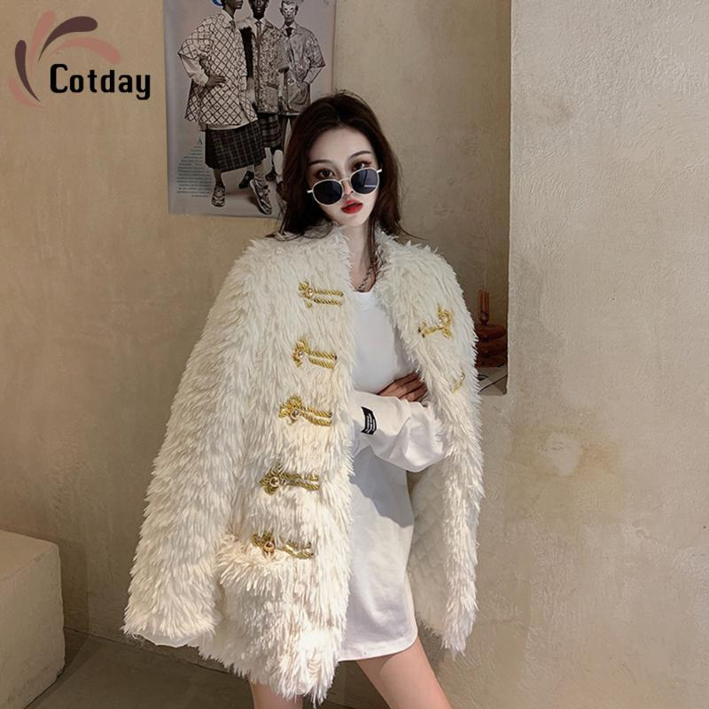 Cotday 2021 Yeni Batı Tarzı Kalınlaşmış Lady Lambswool Tek Parça Kürk Yüksek Sokak Kış Orta Uzunlukta Ceket Bayan Giyim