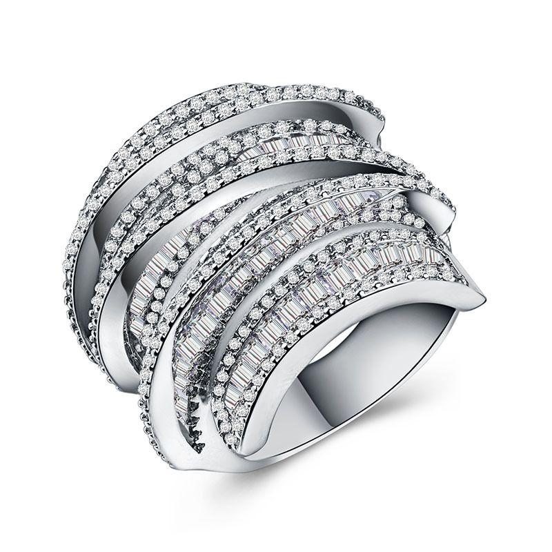 Полная принцесса вырезать ювелирные изделия 925 стерлингов Siver 925 стерлингового серебра белый сапфир, смоделированные драгоценные камни свадьба женщины кольцо SZ5-11 58 N2