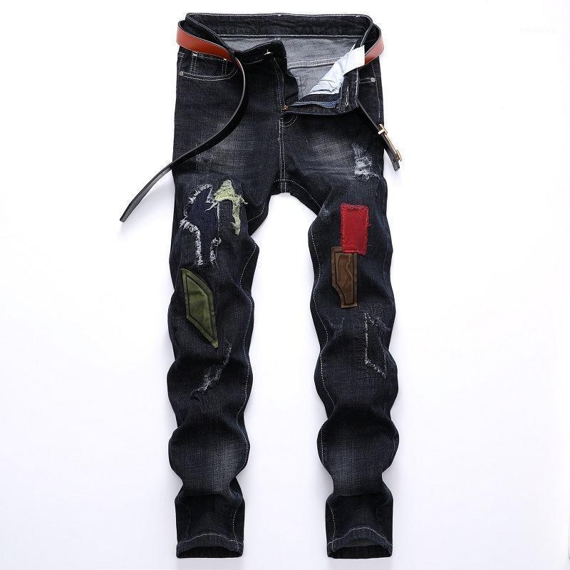 Men Biker Jeans Trousers Brand Ripped Hole Jeans Mens Slim Fit Straight Denim Man Designer Patchwork Pants Homme Vaqueros Hombre1