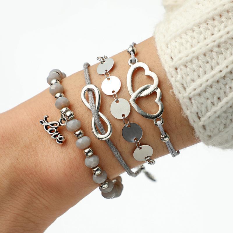 Multiple Styles Fashion Braccialetti di fascino bohémien per le donne bow nodo rotondo maglia intrecciata corda intrecciata femmina braccialetto set gioielli partito