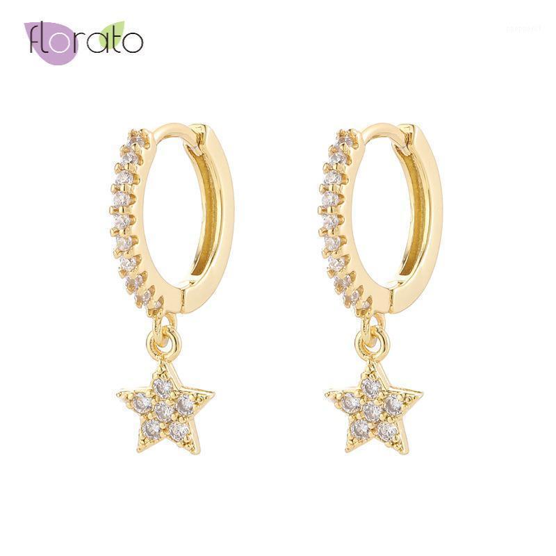Pendientes de aro de plata esterlina 925 de alta calidad para mujeres con encanto CZ Star Hoop Pendiente buenos pendientes Joyería de moda1