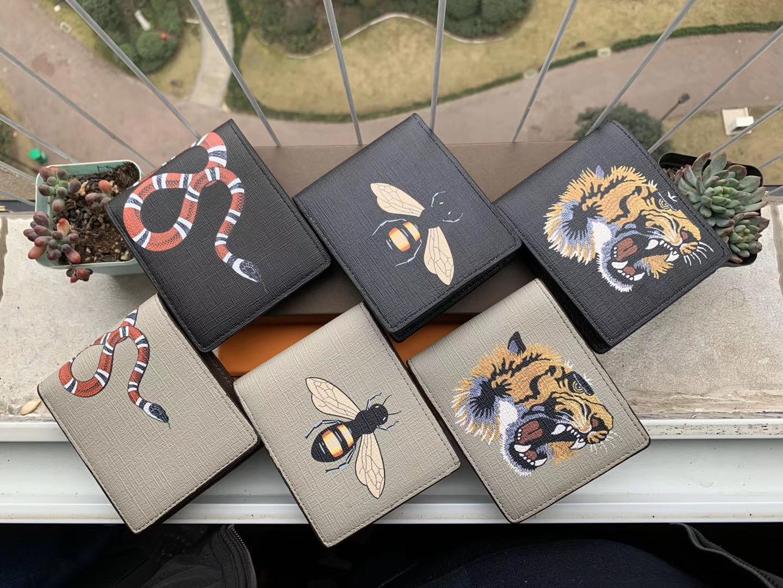 2019 Высокое Качество Мужские Мужские Животные Короткие Кошелек Кожа Черная Змея Тигровая пчелиные Кошельки Женщины Длинный Стиль Кошельки Кошельки Держатели Карты с Подарочной коробкой A2