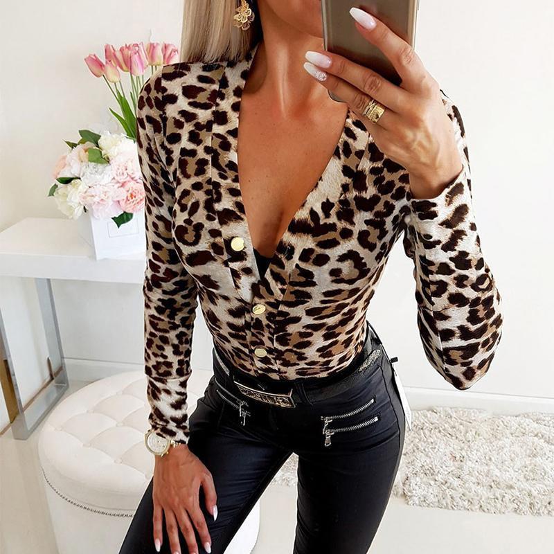 Leopard Imprimir Manga Longa Feminina Bodysuits Profundo V-Pescoço Casuais Sexy Skinny Bodice Macacão Roupas Femininas