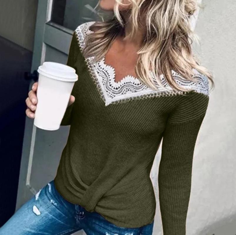 Winter Clothes Crop Tops Women Tops Women's V-Neckline Color Block Casual Loose Regular Lace Blusas Mujer Bluzka Damska