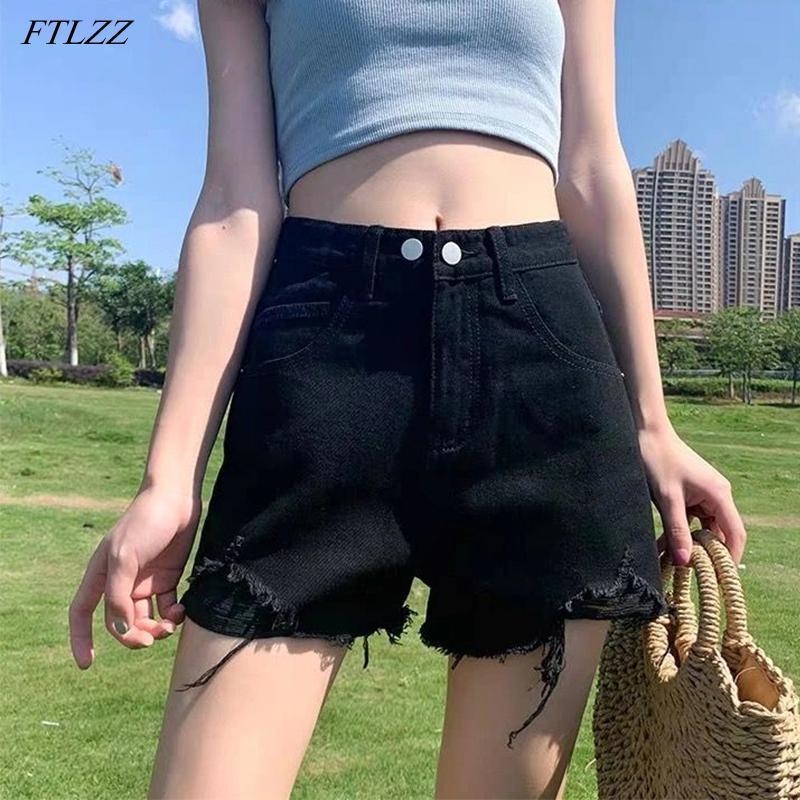여성 반바지 FTLZZ 여름 여성가 방 구멍 빈티지 블루 데님 캐주얼 여성 하이 허리 넓은 다리 검은 청바지