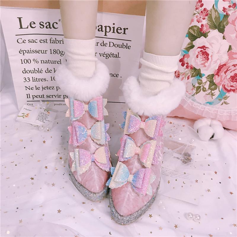 Kış kadın Kar Botları Sivri Burun Kadife Malzeme Peluş Astar Sıcak Ayakkabı Ilekler Sequins B185