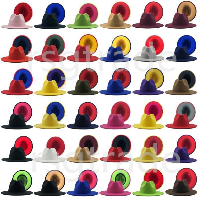 40 couleurs Hommes Femmes Panama Cap Jazz Chapeau Formel Lady Fedora Chapeaux Patchwork Large Bropp Caps Trilby Chapeau Automne Hiver Designer Hats