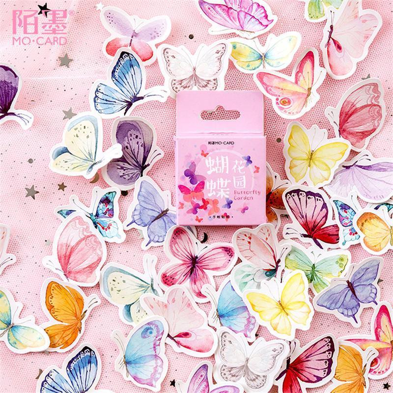45pcs Pratique Paperfly Garden Cahier Notebook Stickers Dessin animé Mignon Mode Theme Journal Stickers School Office Pads Papeterie