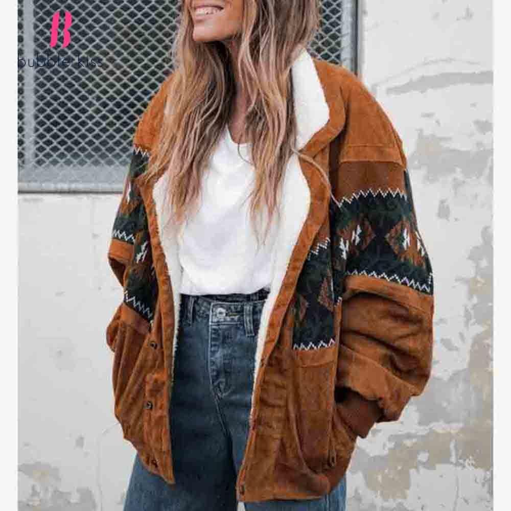 Vintage Women Warm Jackets Coats 2020 Fashion Long Sleeve Clothes Outwear Elegant Loose Print Clothing Female Tops