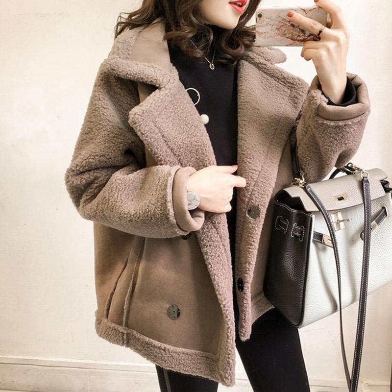 Winter Jacket Lamb Wool Coat Female New Lapel Loose BF Wind Fur Motorcycle Jacket Tide Thicken Warm Fashion Women Jackets Coats