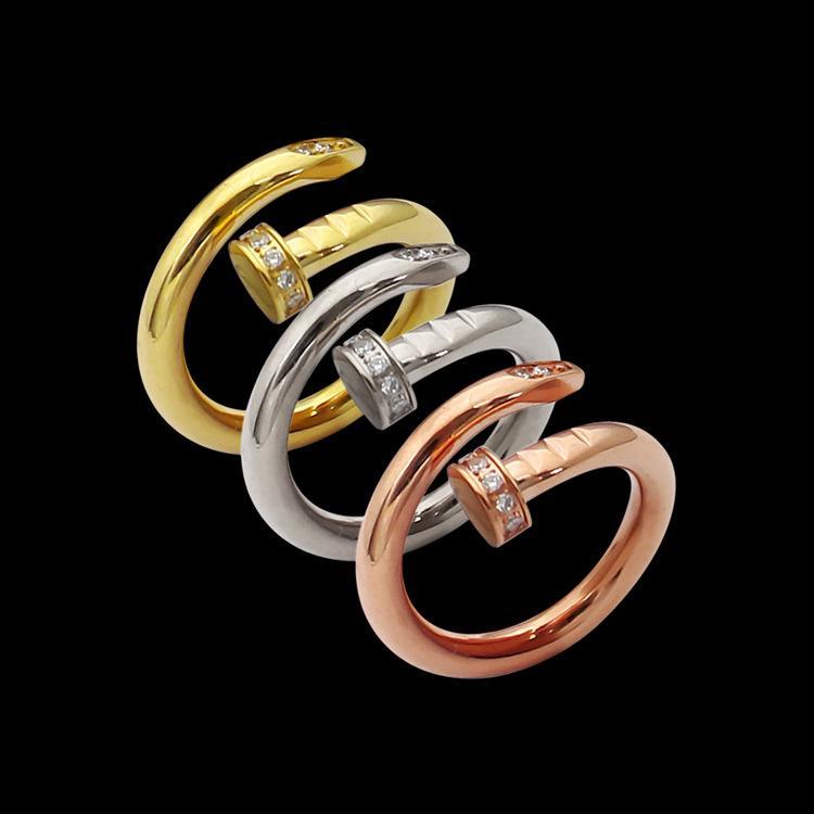 Mode Dame 316L Titanstahl Einzelne Kreise Wrap 3 Farbe mit Diamant-Hochzeits-Engagement 18K vergoldete Ringe Größe5-9