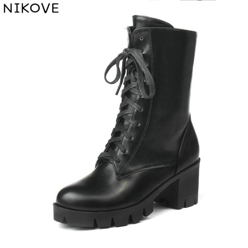 Nikove 2020 Kadın Ayak Bileği Çizmeler Ayakkabı Kış Çizmeler Moda Kadın Ayakkabı Fermuar Lace Up PU Deri Siyah Boyutu 34-43