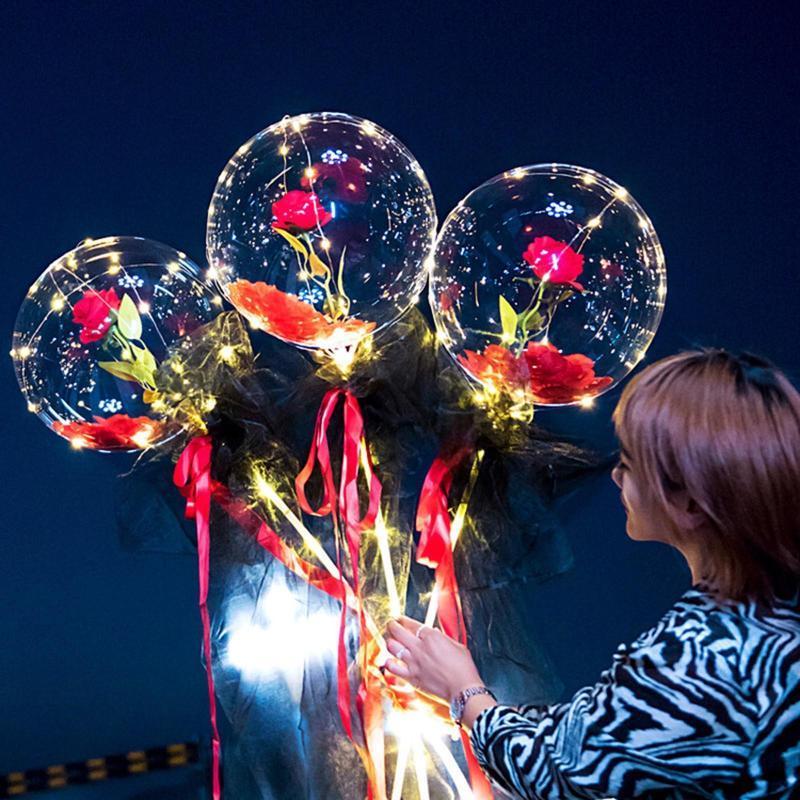 بالون مضيئة ارتفع الاصطناعي باقة شفافة الكرة المجففة الزهور عيد الحب هدية الزفاف الديكور بالونات زهرة