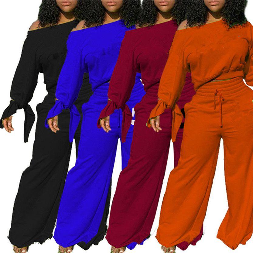 Mulheres Jogging Terno Manga Longa Sweatsuits Hoodies + calças de perna de largura 2 peças conjuntos roupas pullover tracksuit S-2xl Winter Roupas 3849