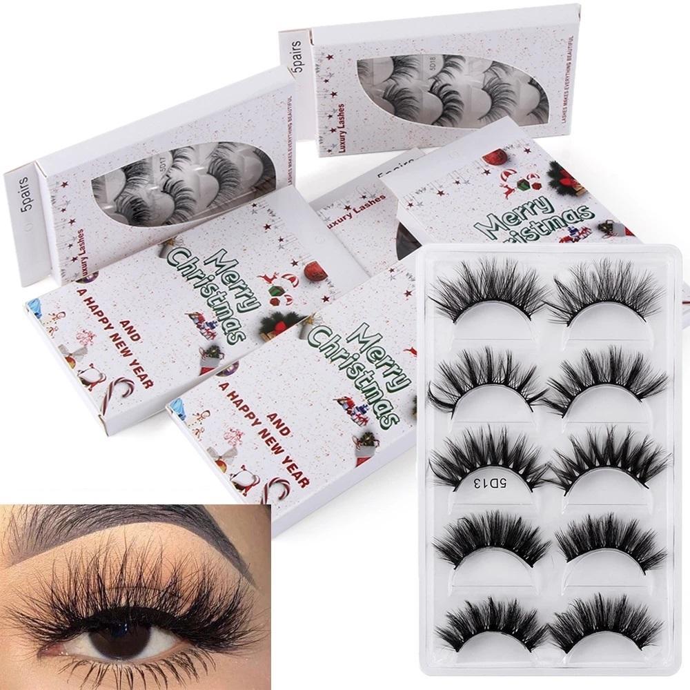 Christmas Packaging 5 Pairs Of Mixed Styles 5D Faux Mink Eyelashes Soft And Delicate Fluffy False Eyelashes Natural Long Eyelashes