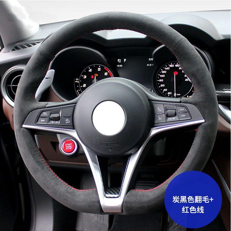 DIY اليد مخيط الأصلي فو بدوره الفراء سيارة عجلة القيادة غطاء لللفا روميو جوليا ستيلفيو 15 بوصة 38 سنتيمتر جودة عالية رمادي
