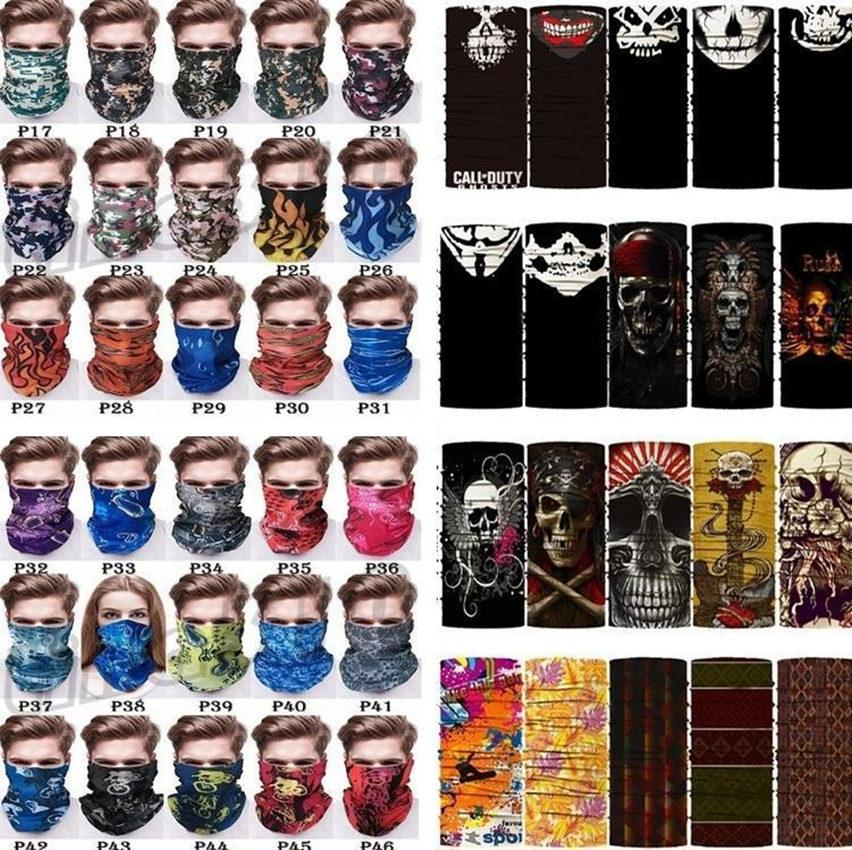DHL 3-7 days delivery Outdoor Masks Multi-function Head Scarf Seamlessly Headband Scarf Bandanas Cycling Masks Skeleton Magic Scarf
