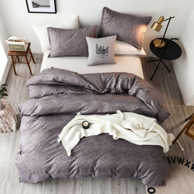 Klasik katı yatak takımları yorgan kılıfı yorgan kapak nevresim seti kral kraliçe çift tek boyutlu açık gri yatak çarşafları