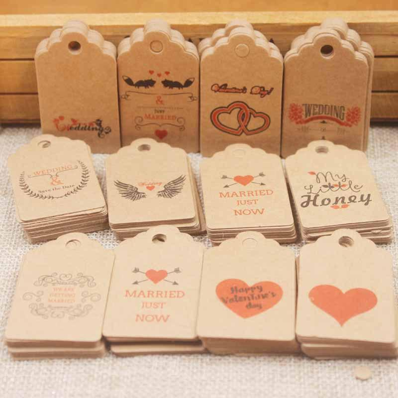 100pcs 5*3cm Handmade Tags Kraft Paper Card Gift Label Tag Handmade DIY Gift Wrapping Wedding Birthday Gift Card Decor BEA2557