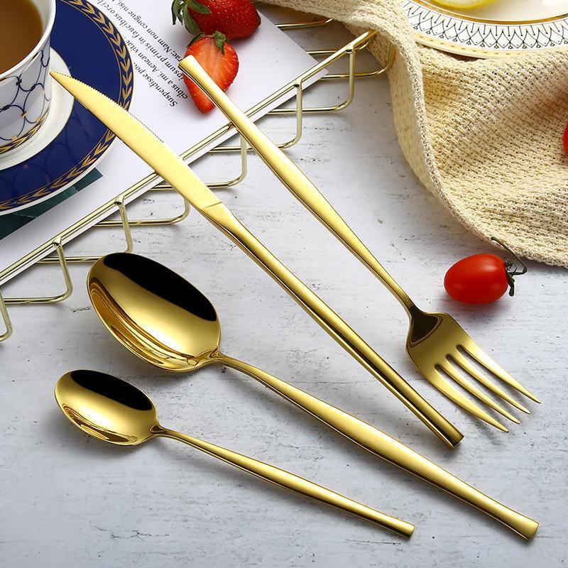 4 Pcs Kits INS Top Grade Metal Colour Plated Flatware Sets Steak Dinner Table Knife Fork Dessert Spoon Soup Ladle Marmita Talher Y1126
