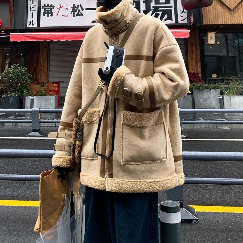 Kış artı kadife yastıklı kuzu kürk ceket erkek sıcak moda retro stand-up yaka erkekler gevşek Kore kısa ceket erkek giyim