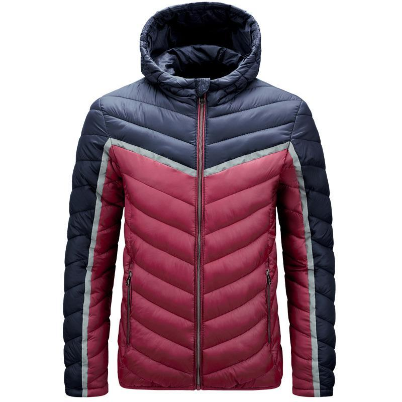 Invierno Cálido Hombres gruesos Parka Abrigos 2021 Marca de moda Hombre con capucha de algodón acolchado Patchwork Casual Parkas Outcoat Man Chaqueta