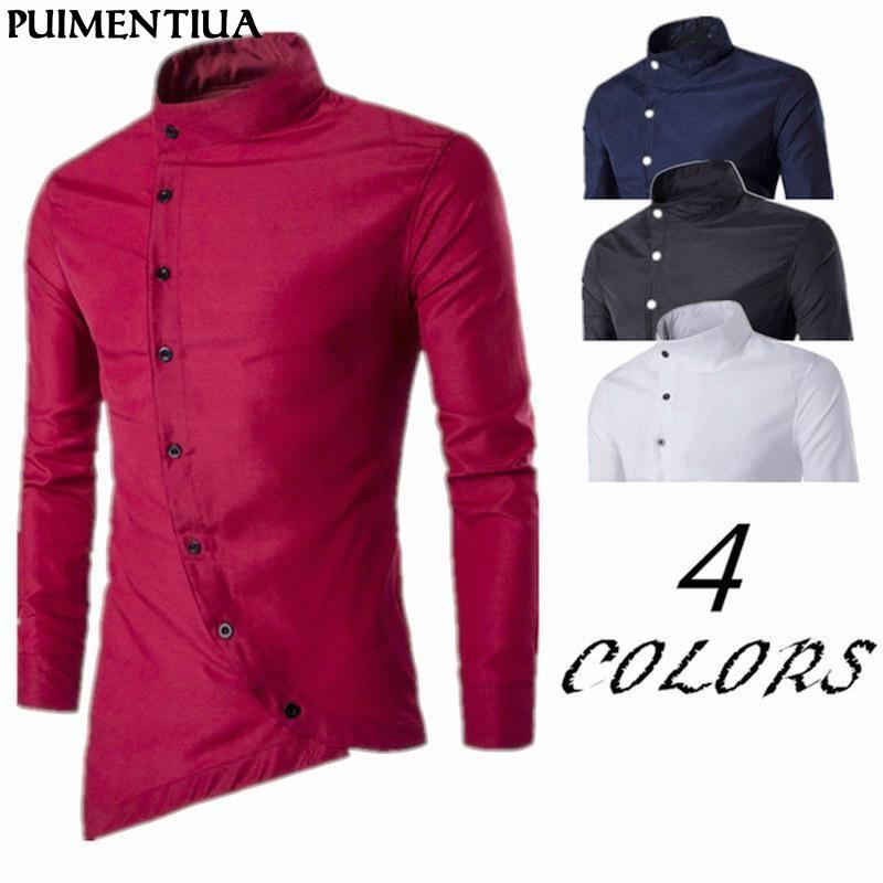 Puimentiua 2020 primavera outono masculino botão irregular camisa ocasional de manga longa magro fit masculino camisas sólidas carrinho algodão homens camisas